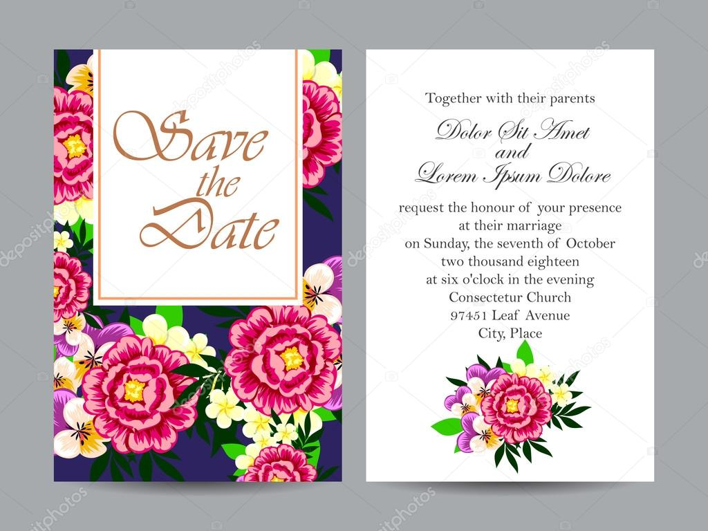 Delicate Invitation With Flowers For Wedding Stock Vector All