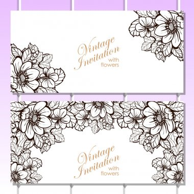 delicate invitation with flowers for wedding