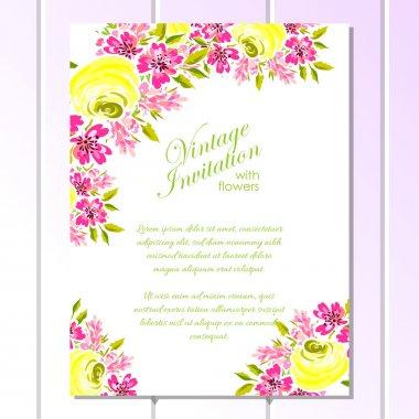 """Картина, постер, плакат, фотообои """"нежный приглашение с цветами для свадьбы"""", артикул 93332218"""