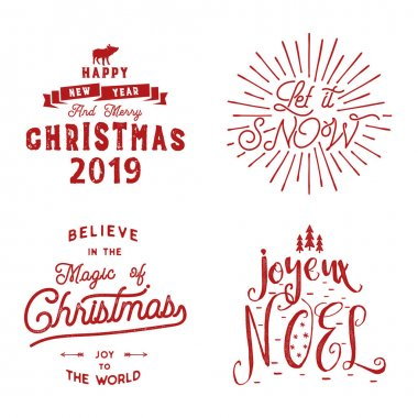 Merry Christmas. Happy New Year, Joyeux Noel 2019. Typography set. Holiday logo, emblems, text design. Use for t shirts, banners, greeting cards, gifts. Stock vector calligraphic collection isolated