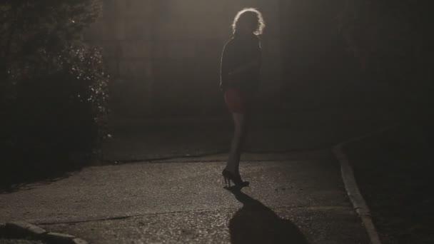 schöne junge Frau in kurzem Rock und High Heels, die nachts allein in einem dunklen Park steht