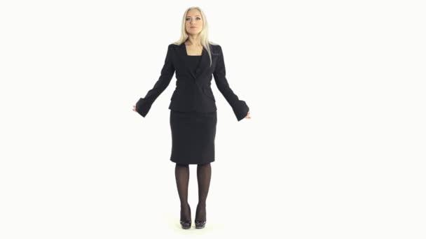 Veselá obchodní žena překvapená, dostat vztek a smáli se na bílém pozadí v celých délkách