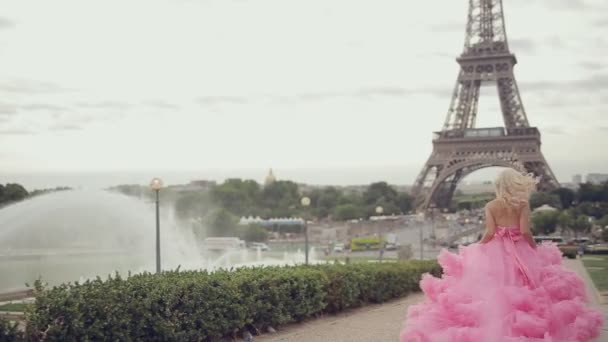 Girl in a magnificent pink dress long running near the Eiffel Tower