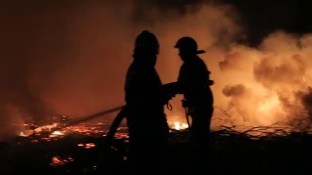 Eliminace ohně v lese v noci