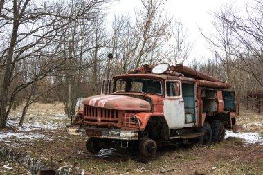 UKRAINE. Chernobyl Exclusion Zone. - 2016.03.20. abandoned radioactive vehicles