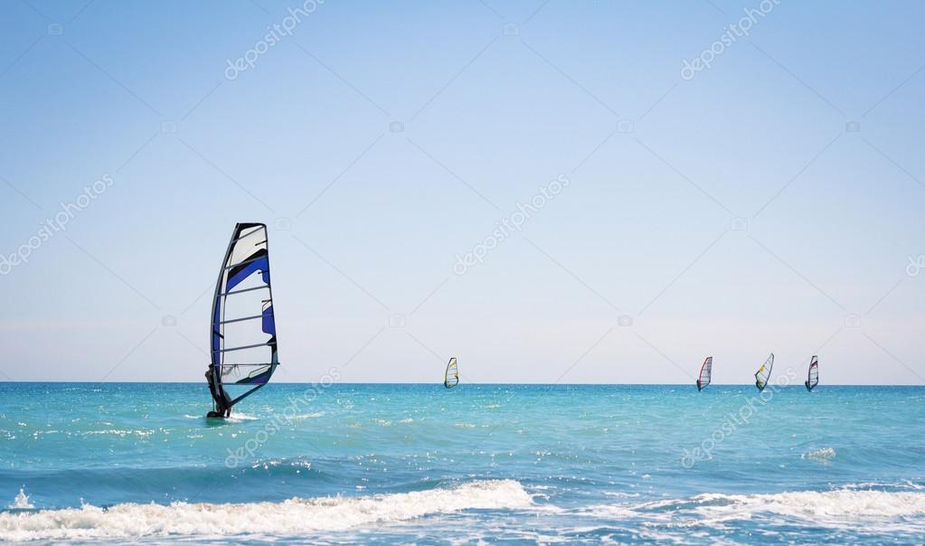 Windsurfing sails on the blue sea