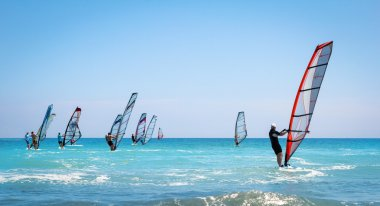 Windsurfing sails on the blue sea