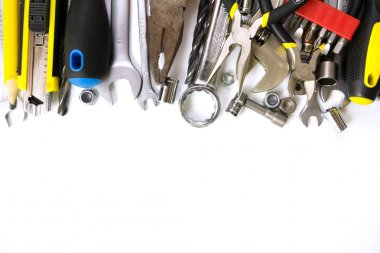 Tools collection on white background