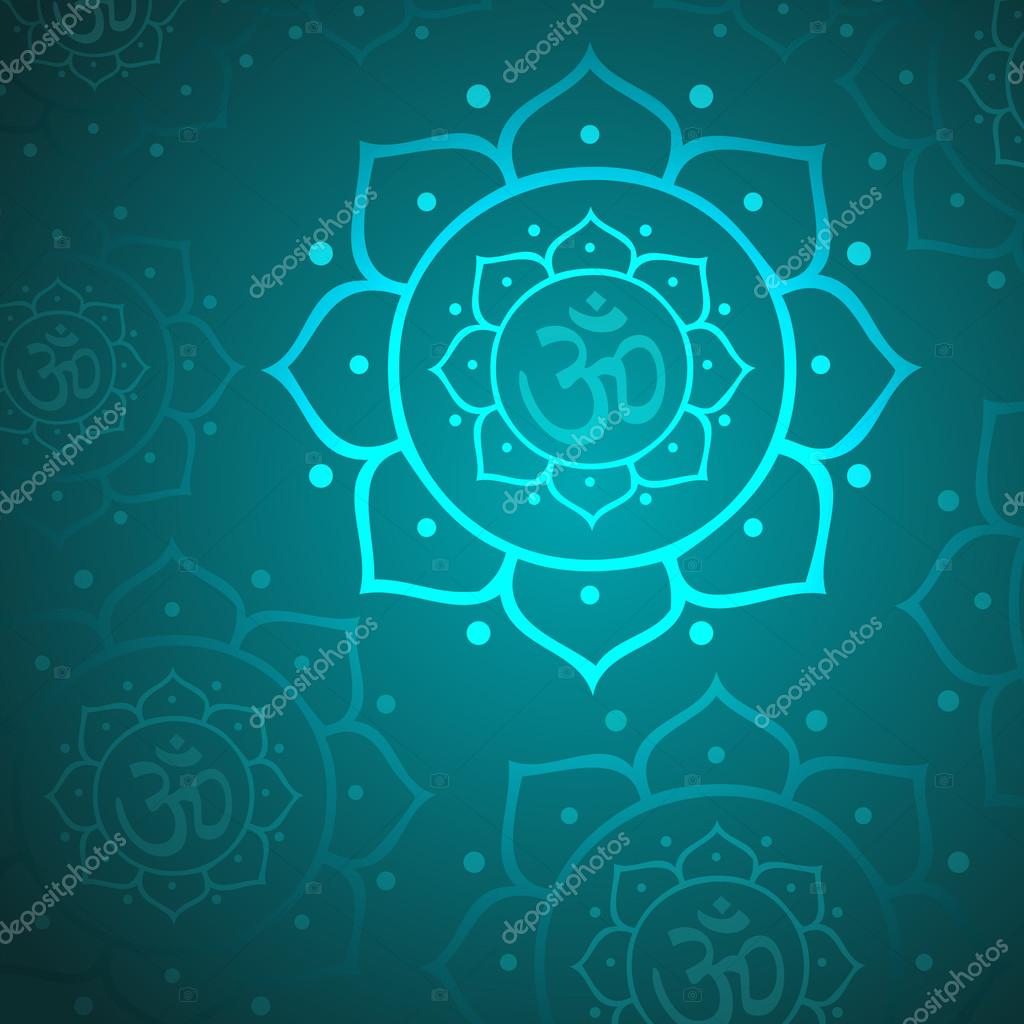 Vector Lotus Flower And Om Symbol Background Stock Vector