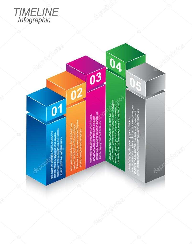 Timeline Infographic design template in the form of a 3d box