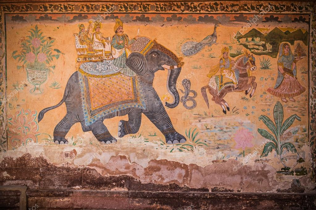 Indian culture wall painting | Ancient indian wall painting with animals  and people — Stock Photo © ilterzosole #60819671