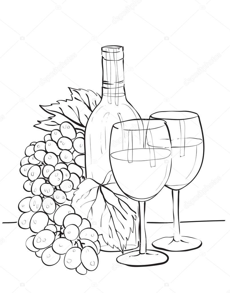 fles wijn glazen en druiven stockvector 169 silbervogel