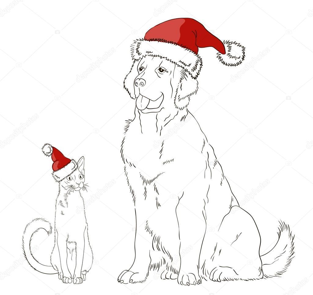 Vettore Di Un Gatto Natale Disegno Di Un Cane E Un Gatto In