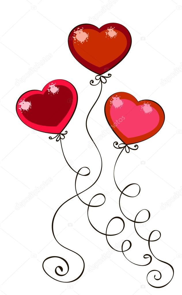 dibujo coloreado surround globos en forma de corazones — Archivo ...