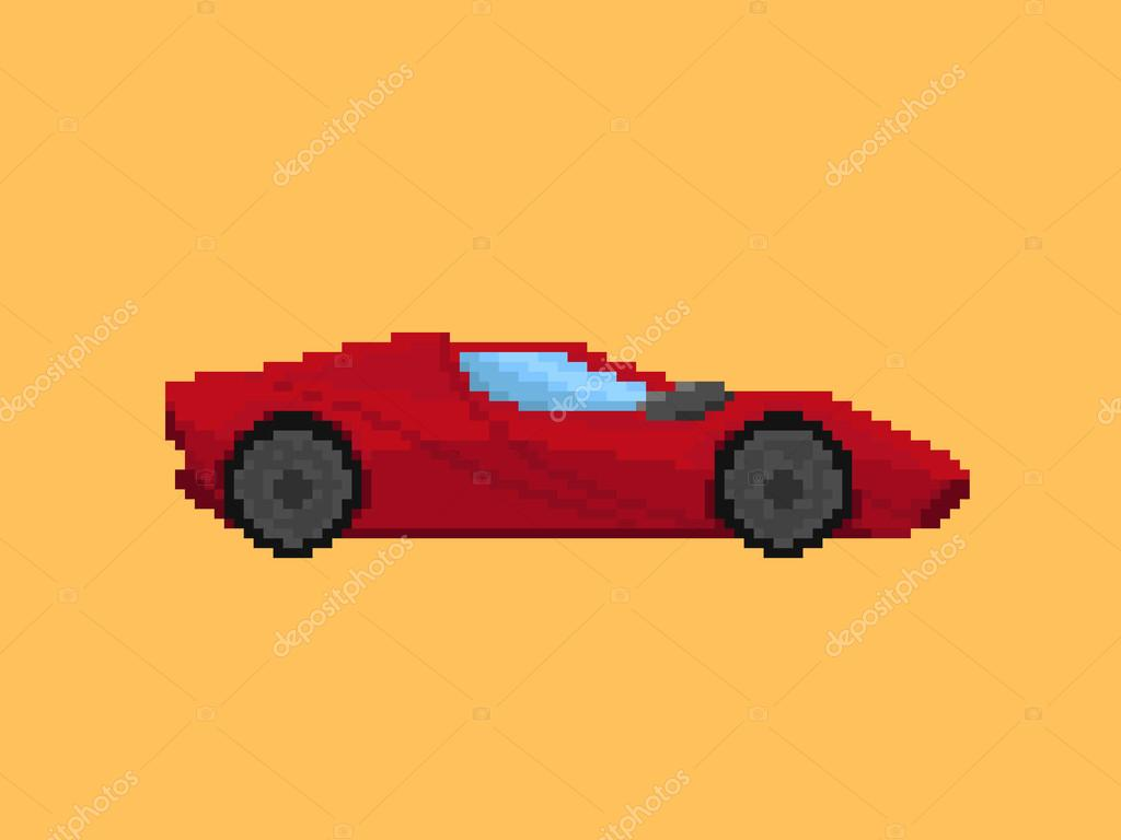 illustration de la voiture de sport rouge dans le style de pixel art image vectorielle wild. Black Bedroom Furniture Sets. Home Design Ideas