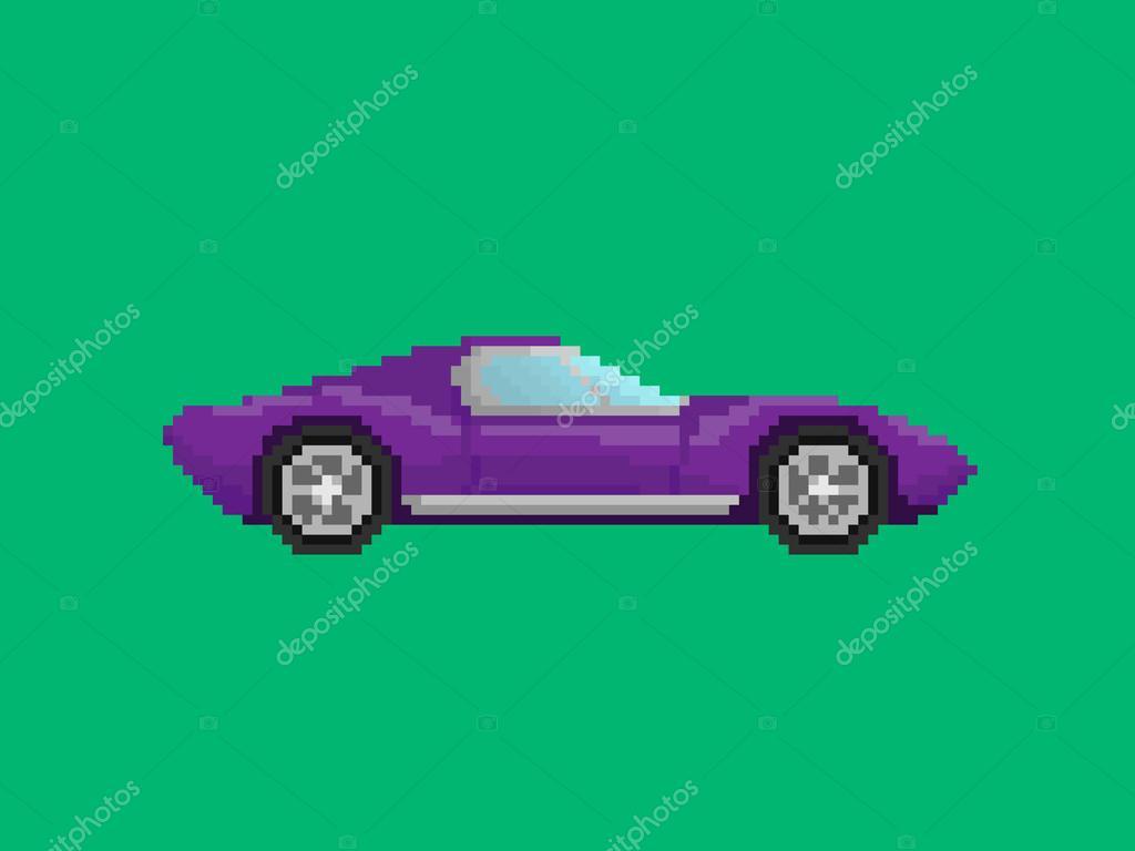 illustration de la voiture de sport violet dans un style pixel art image vectorielle wild wind. Black Bedroom Furniture Sets. Home Design Ideas