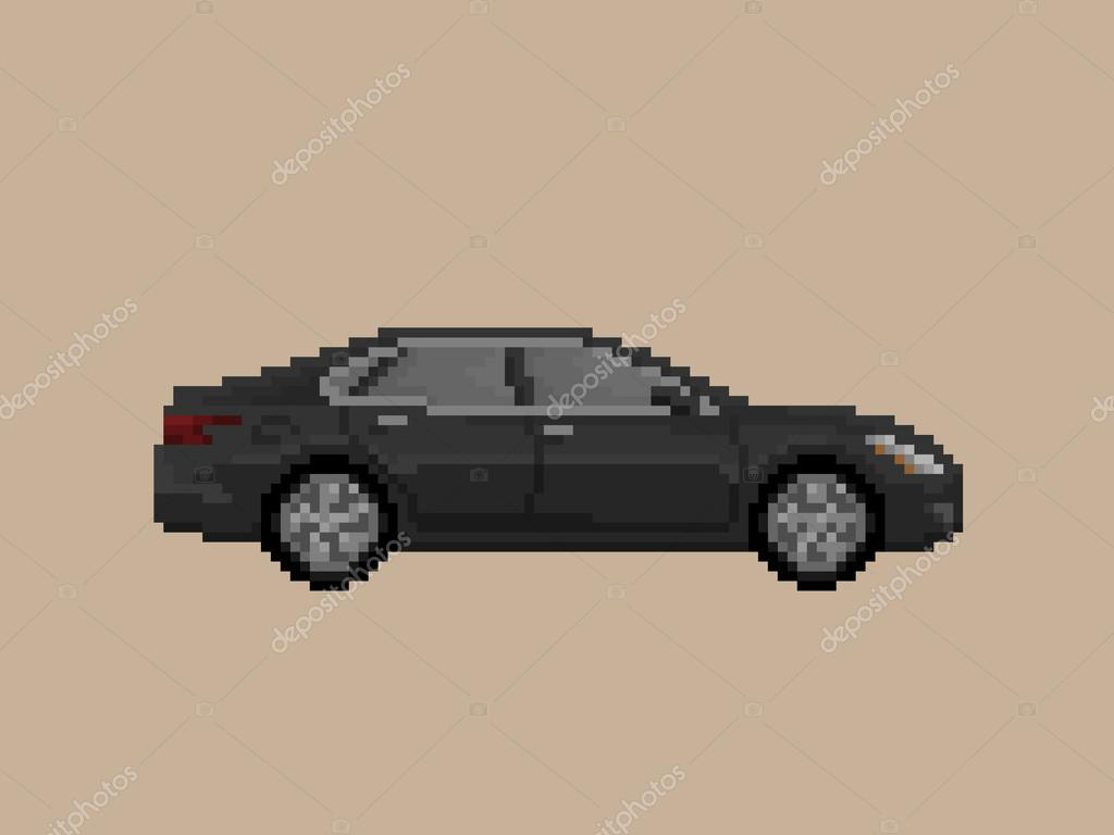 Illustration Of Black Sedan Premium Car In Pixel Art Style