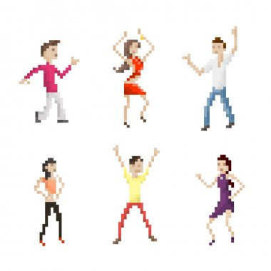 Pixel Art Dancing People Set