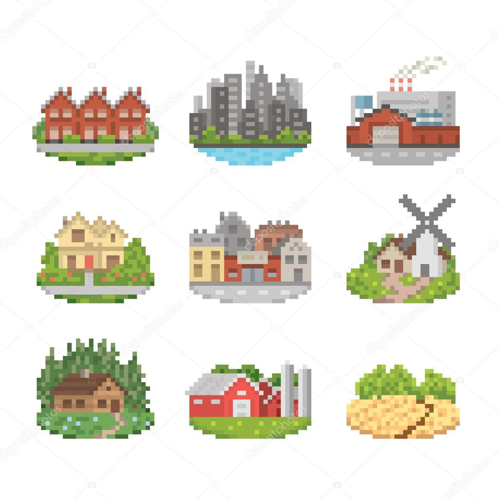 City And Town Icon Set