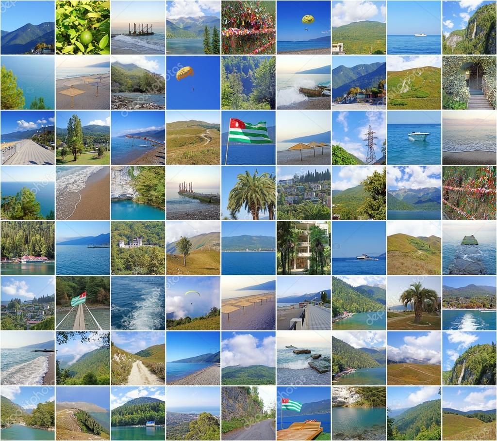 Collage with nature and sights of Abkhazia.