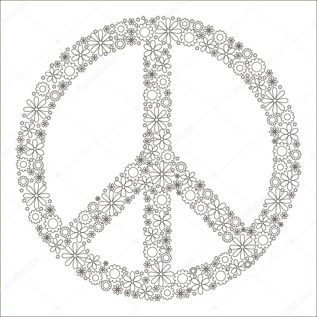 Beliebt de coloriage pour enfants, symbole de la paix — Image vectorielle  BH52