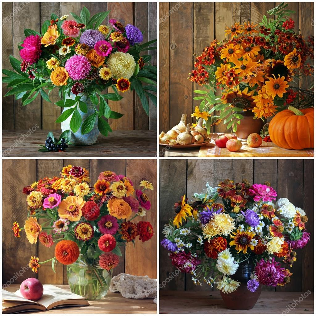 Collage with bouquets of autumn flowers. — Stock Photo © BalaguR ...