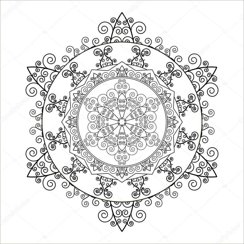 Libro de colorear. Mandala en forma de copos de nieve. Vector de ...
