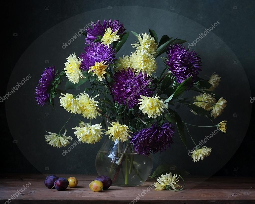 Asters and plums