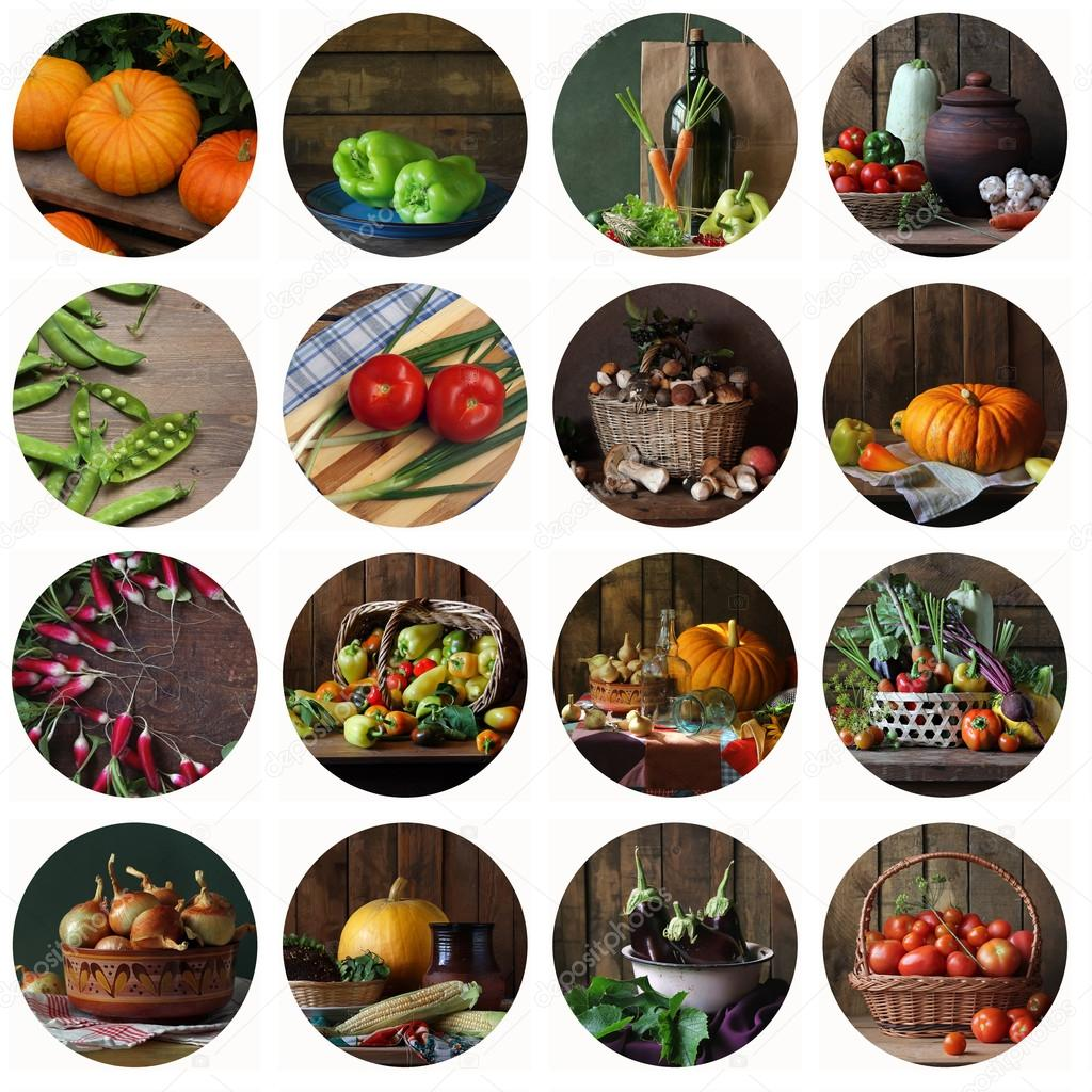 Collage from still lifes with vegetables and mushrooms. Food.