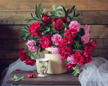 Pink and red roses.
