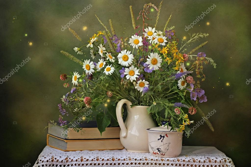 Still life with a bouquet of wild flowers