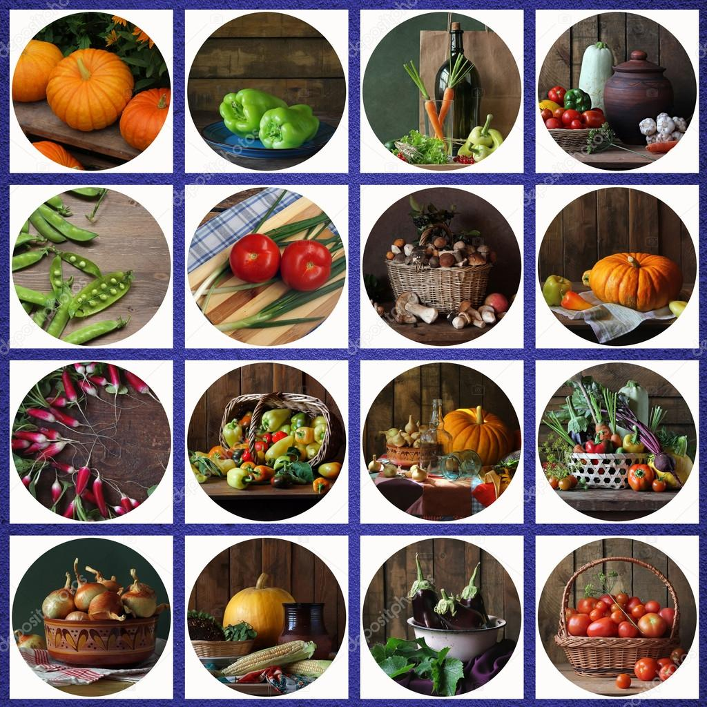 Collage from still lifes with vegetables and mushrooms.
