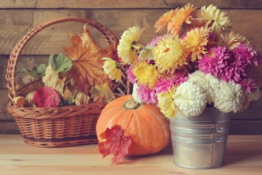 Autumn still life with a bouquet.
