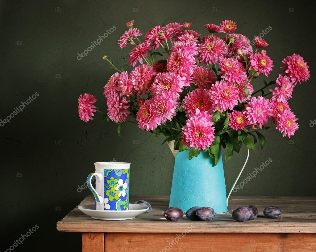 Still life with a bouquet. Chrysanthemums. Card, invitation, con
