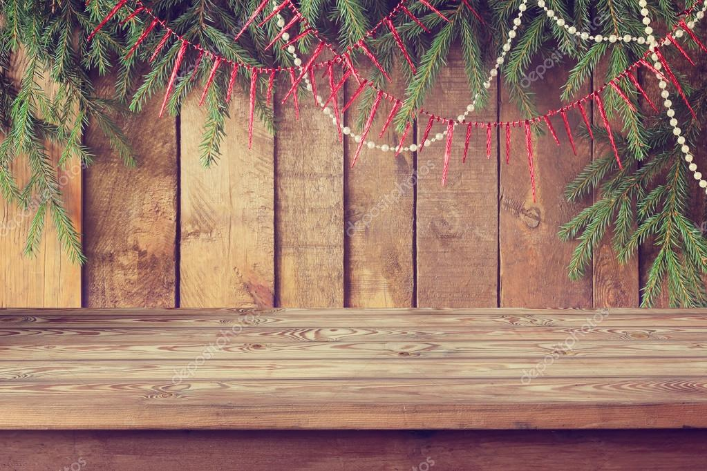New Year's background, Empty wooden table.
