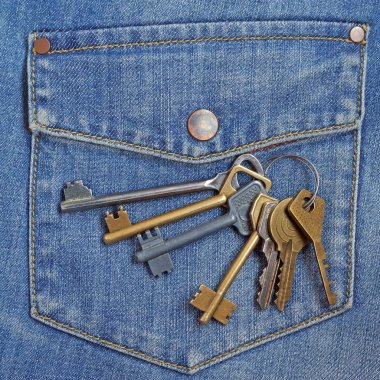 bunch of keys against a pocket of jeans. Concept a key in a pock