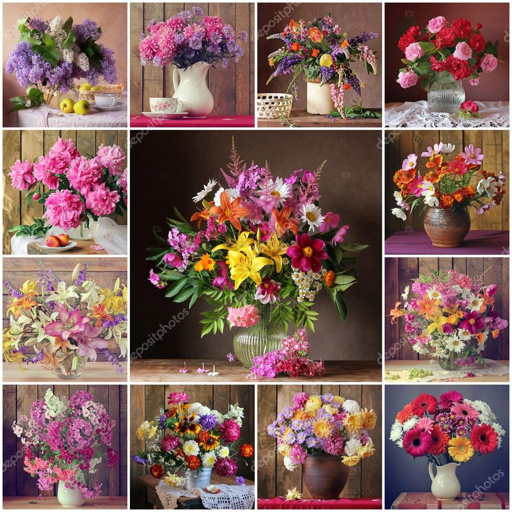 Collage from still lifes with bouquets. Flowers.