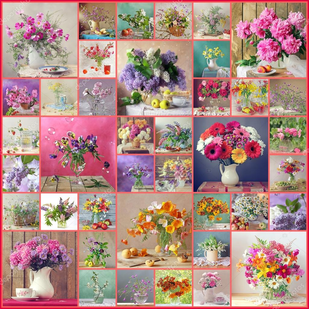 Collage from still lifes with bouquets.