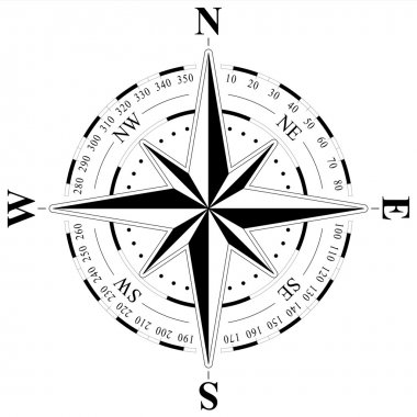 wind rose on a stand-alone white background