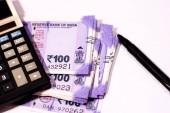 Počítání indické papírové měny izolované na bílém pozadí