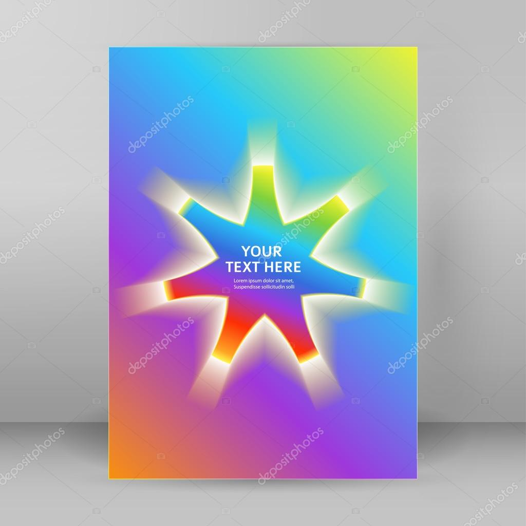 rainbow background presentation template format a4 cover page