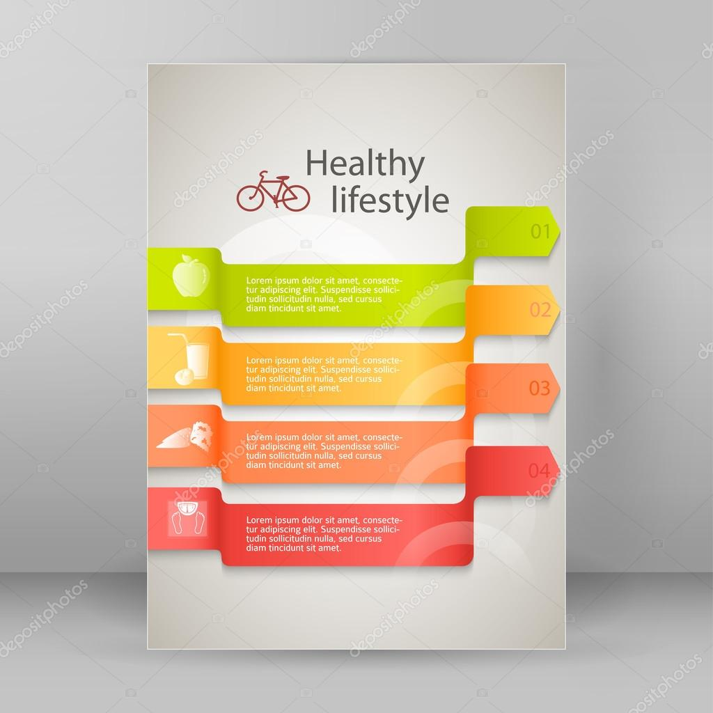 template flyer a4 brochure layout healthy lifestyle stock vector