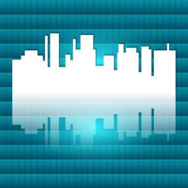 City-silhouette-reflected-gradient-blue-green-background
