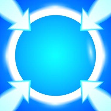 round-frame-arrows-bright-blue-background