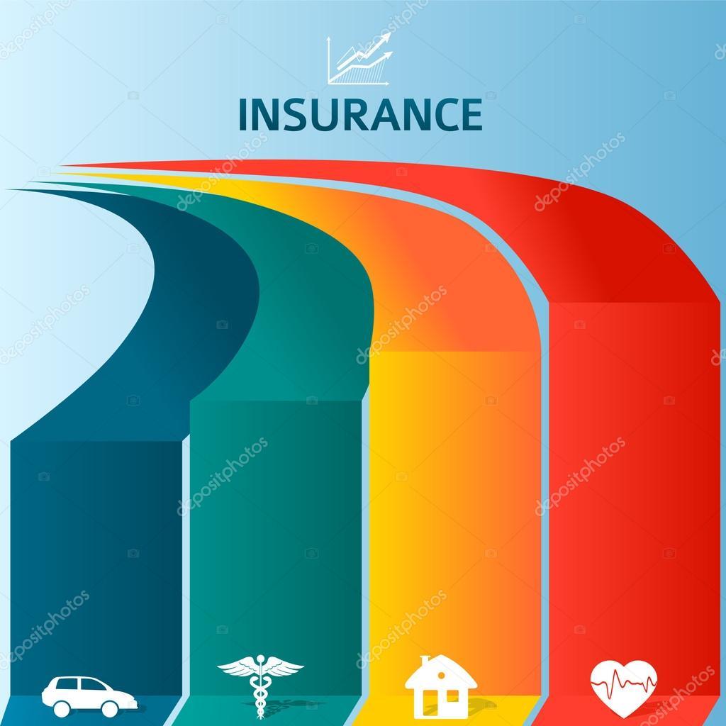 Insurancebrochuretemplateinfographicscoloredstripes Stock - Insurance brochure template