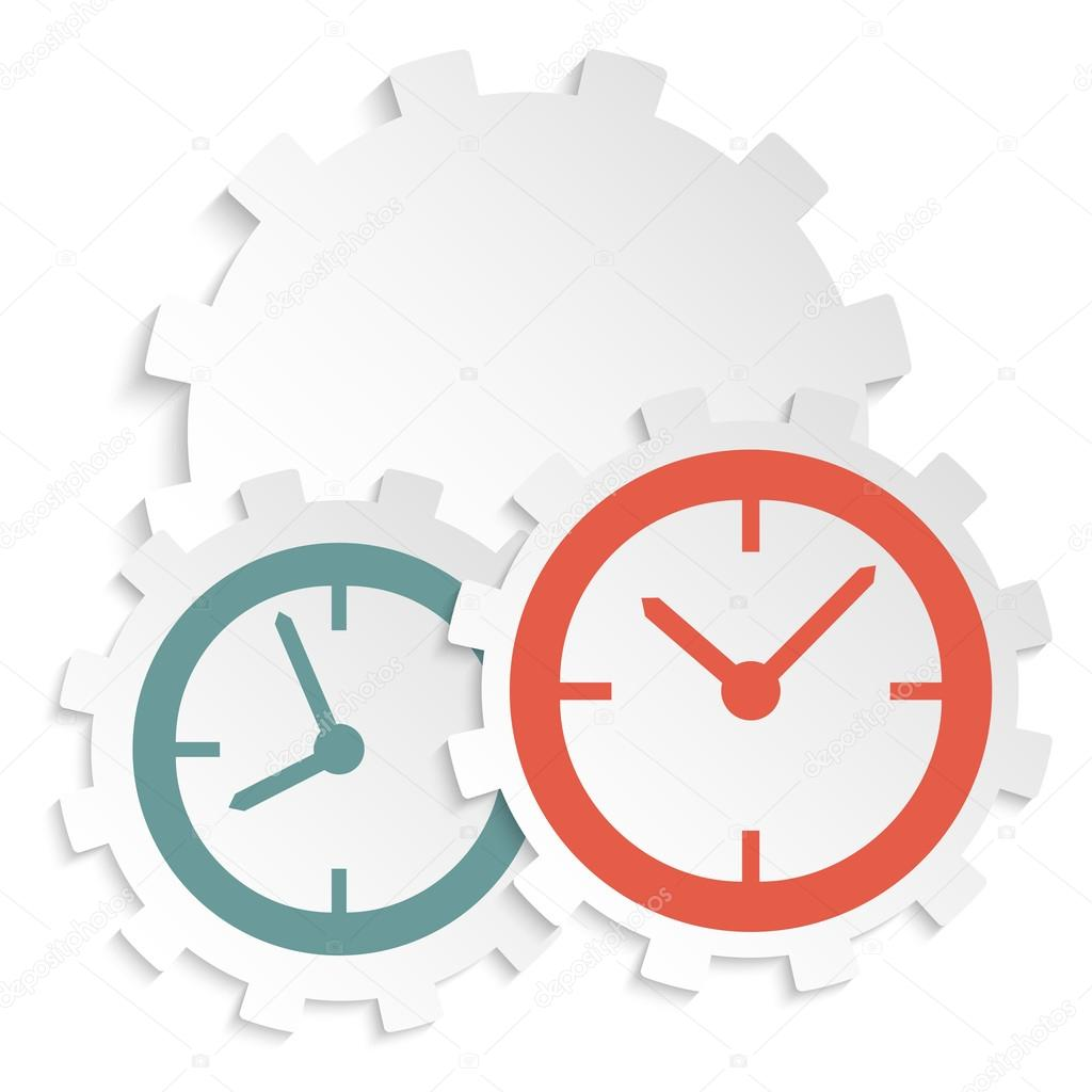 concept of time clock icon on paper cutaway gear — Stock Vector ...