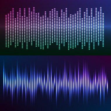glow effect music equalizer dark background set