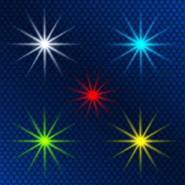 design element set of colored light shining stars