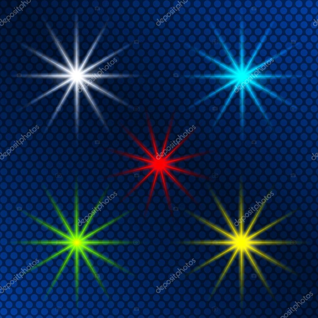 design element set of colored light shining stars