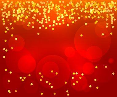 red background poster invitation celebration confetti gold
